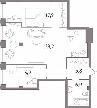 Планировка Студия площадью 75.5 кв.м в ЖК «Лахтинский Пассаж»