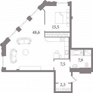 Планировка Студия площадью 80.2 кв.м в ЖК «Лахтинский Пассаж»