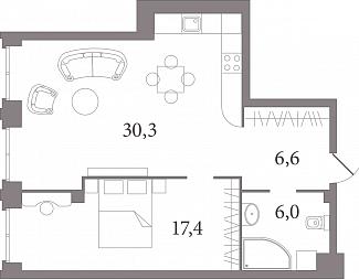 Планировка Двухкомнатная квартира (Евро) площадью 59.3 кв.м в ЖК «Лахтинский Пассаж»