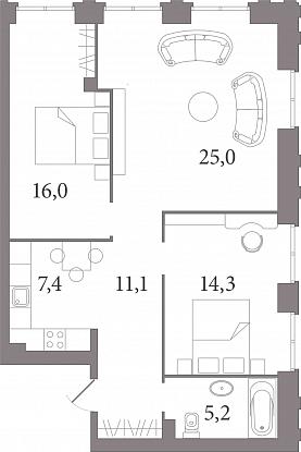 Планировка Студия площадью 77.3 кв.м в ЖК «Лахтинский Пассаж»