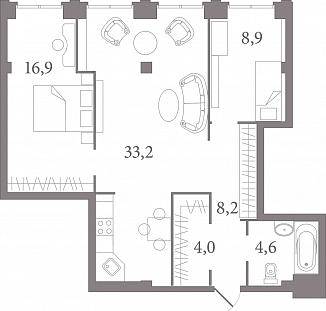 Планировка Студия площадью 72.9 кв.м в ЖК «Лахтинский Пассаж»