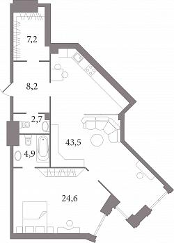 Планировка Двухкомнатная квартира (Евро) площадью 89.4 кв.м в ЖК «Лахтинский Пассаж»
