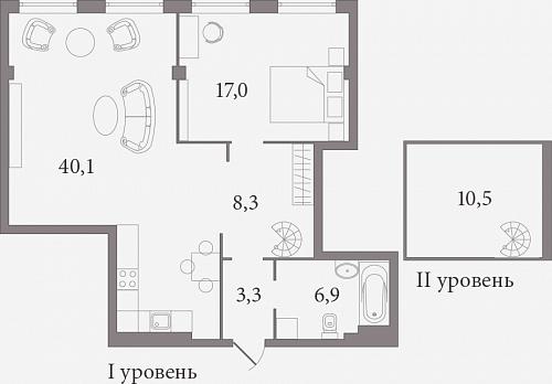 Планировка Двухкомнатная квартира (Евро) площадью 76.8 кв.м в ЖК «Лахтинский Пассаж»