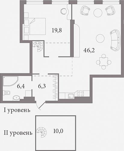 Планировка Студия площадью 77.8 кв.м в ЖК «Лахтинский Пассаж»